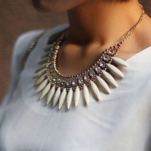 Ivory/Crystal boho bib  necklace